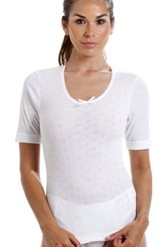 Womens Short Sleeved Round Neck Thermal T-Shirt