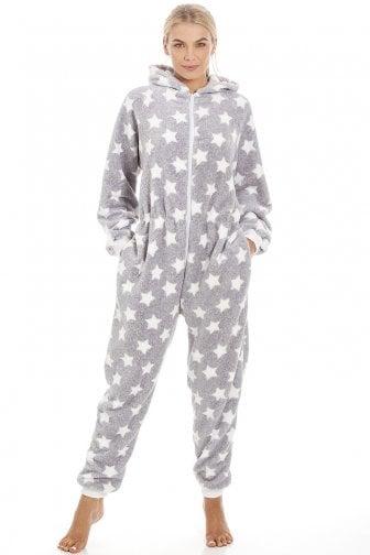 Womens Soft Fleece White Star Print Light Grey Onesie 6d4e60ad5c