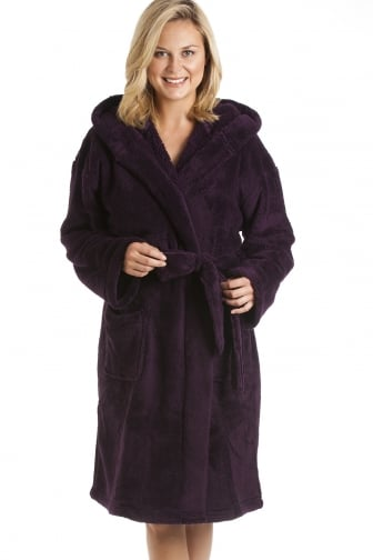 Womens Supersoft Fleece Dark Purple Bathrobe
