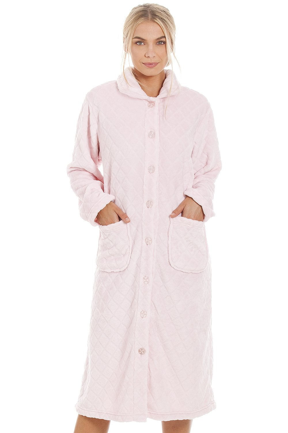Camille Womens Supersoft Light Pink Button Front Diamond Print Housecoat f34b02cee