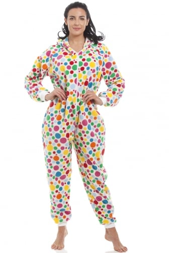 02dab783d92 Womens Supersoft White Disco Spot All In One Onesie