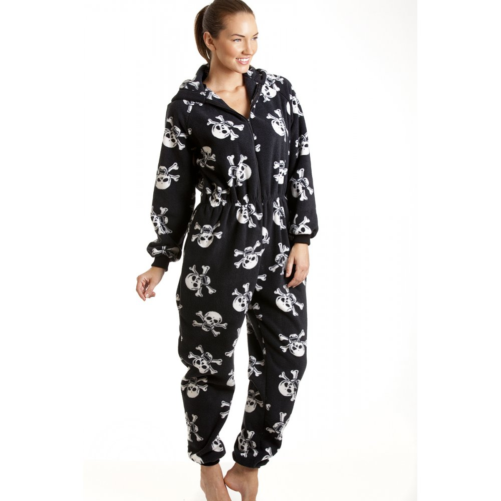 womens various print hooded fleece onesie pyjama. Black Bedroom Furniture Sets. Home Design Ideas