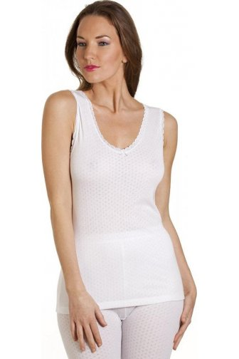 Womens Viloft Blend Lightweight Thermal Camisole Built Up Strap vest White