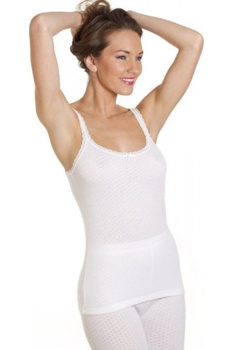 Womens Viloft Blend Lightweight Thermal Camisole Vest White