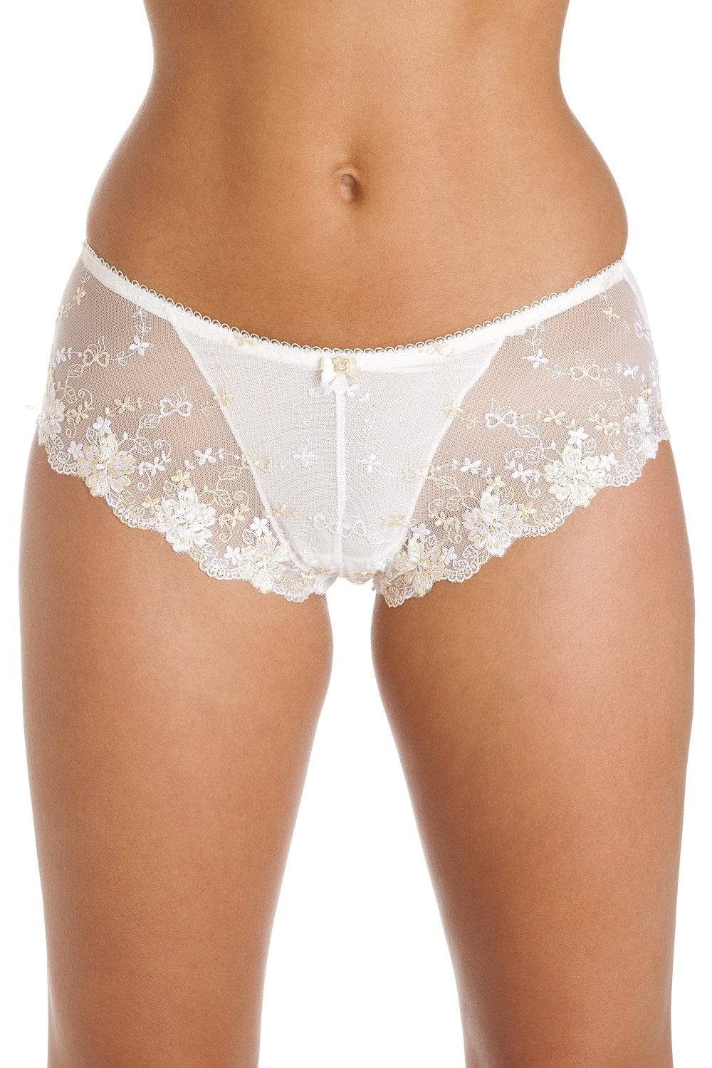 1df328d417f8 Camille Womens White And Gold Floral Boxer Shorts