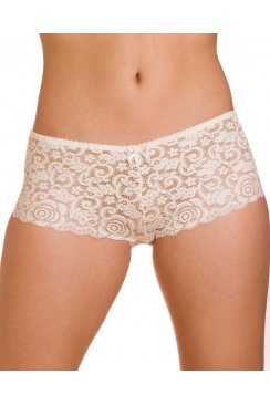 Womens White Charisma Floral Lace Mesh Boxer Shorts