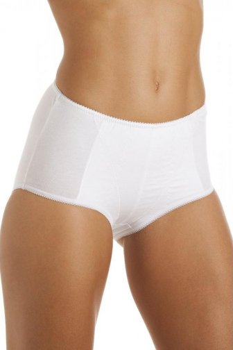 Womens White Cotton Control Shapewear Underwear Briefs