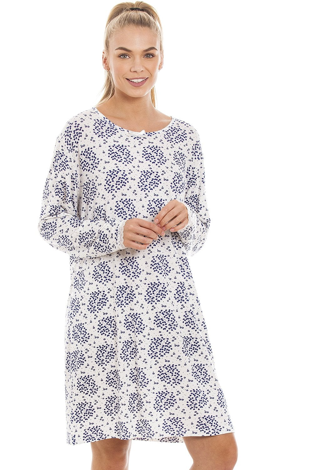 3bbd8bc43a1b Camille Womens White Floral And Leaf Print Lightweight Nightdress