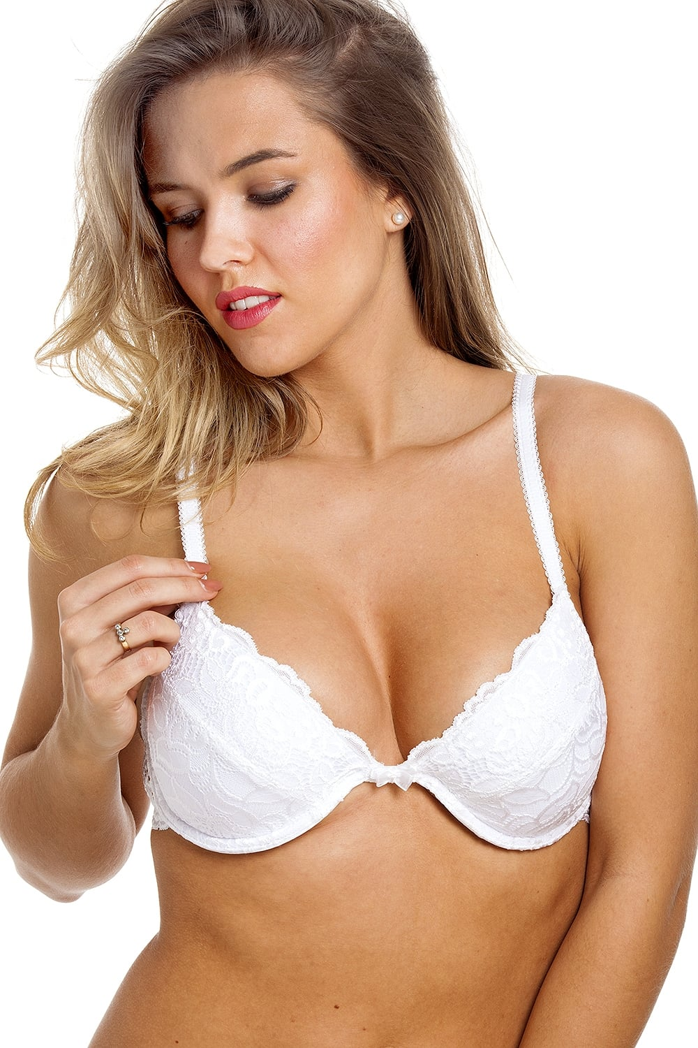 a88c90e02cc5 Camille Womens White Floral Lace Push Up Plunge Padded Underwired Bra