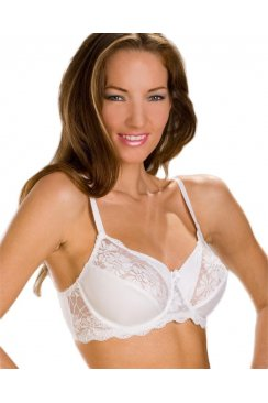 Womens White Full Soft Cup Underwired Lace Bra