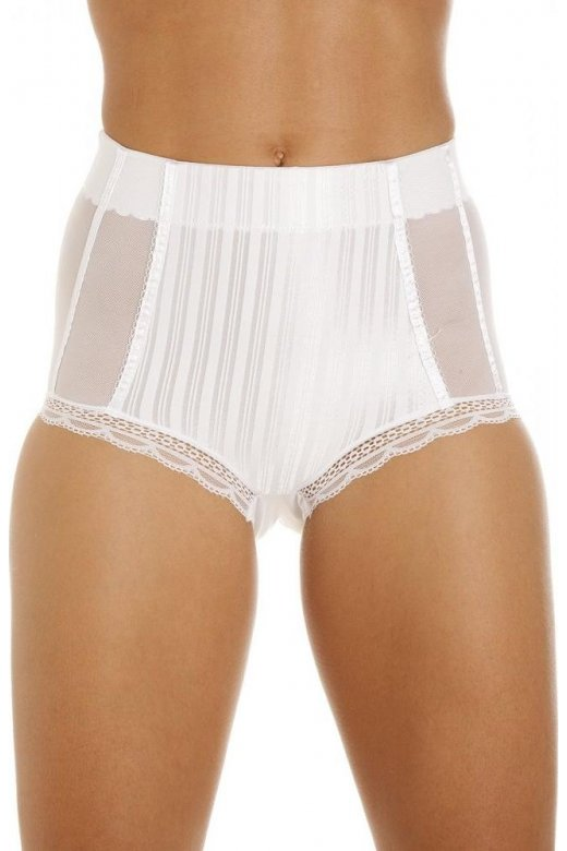 Womens White High Waisted Mesh Support Panel Control Briefs