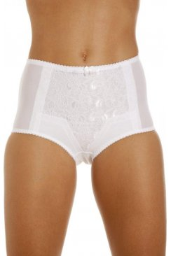 Womens White Lace Control Shapewear Briefs In White