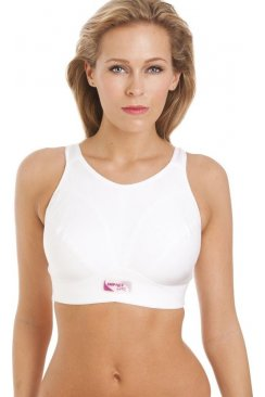 Womens White Maximum Support Impact Free Sports Bra G-K