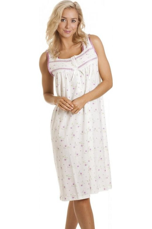 Womens White Sleeveless Lilac Floral Print Classic Style Nightdress