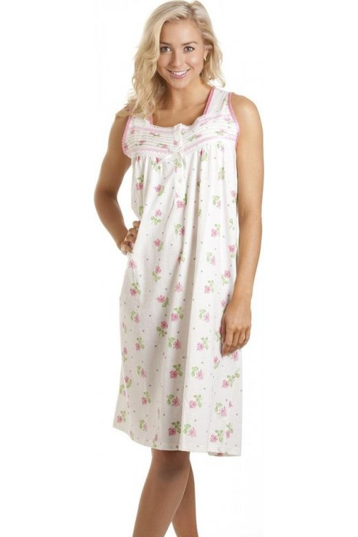 Womens White Sleeveless Pink Floral Print Classic Style Nightdress