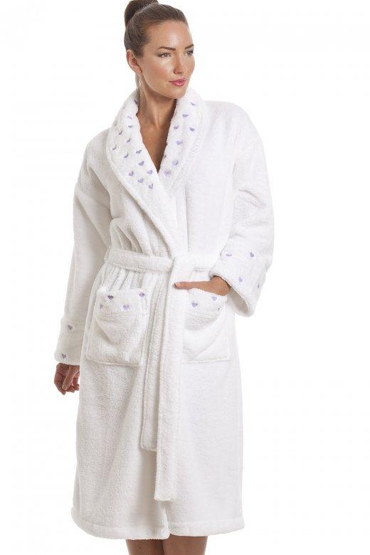 Womens White Supersoft Fleece Heart Print Bathrobe