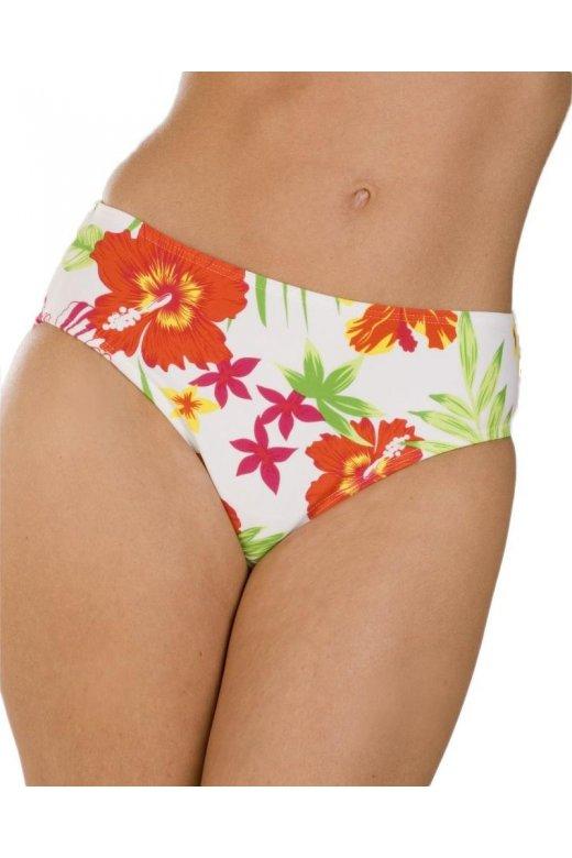 Womens White Tropical Floral Print Deep Brief