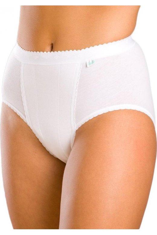 Womens White Two Pack Elasticated Waistband Deep Hi Leg Light Control Briefs