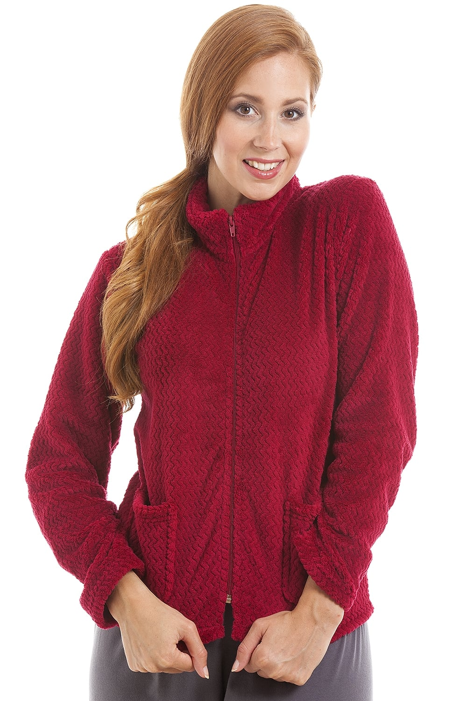 5fdd9b59670 Camille Womens Zip Front Burgundy Soft Fleece Bed Jacket