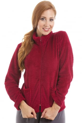 Womens Zip Front Burgundy Soft Fleece Bed Jacket