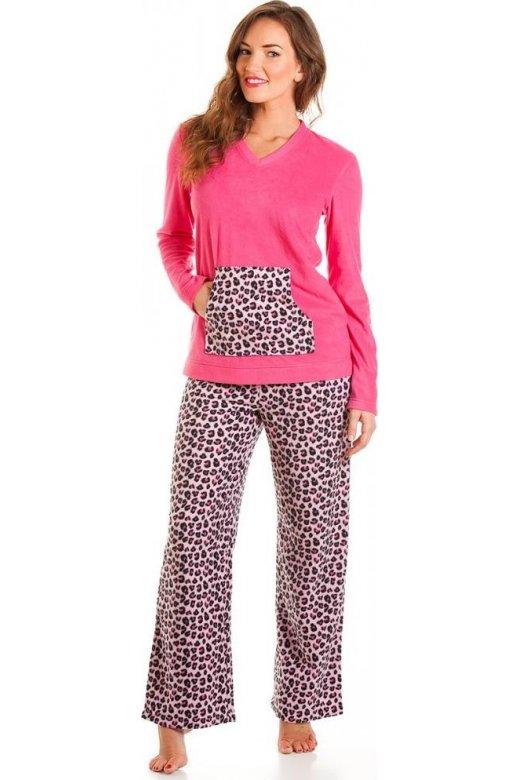 da5e3bc2bbe2 Womes Pink Leopard Print Fleece Pyjama Set