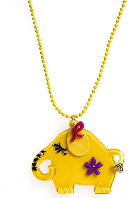 Yellow Elephant Design Necklace