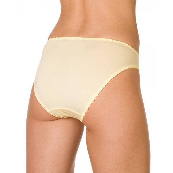 Womens Ladies Lemon Yellow Sensuous Sheer Lace Underwear Briefs