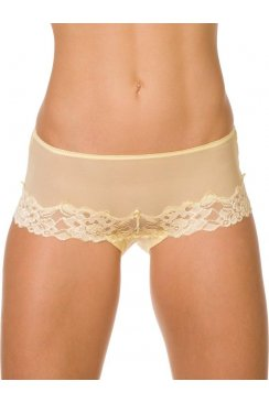 Yellow Mesh Lace Boxer Shorts